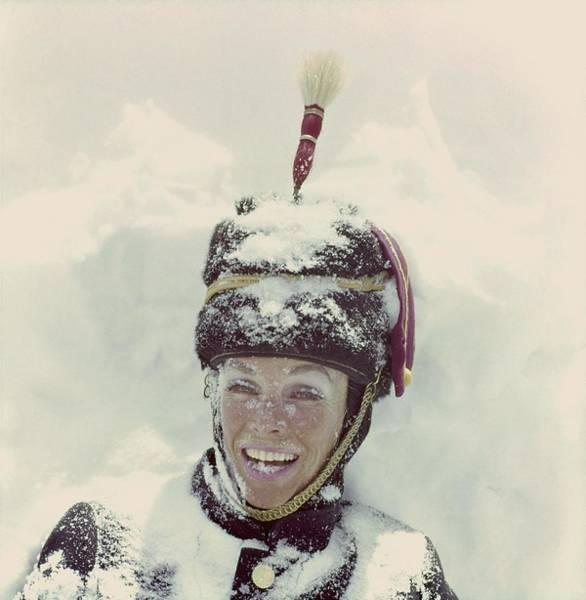 Wall Art - Photograph - Model In Snow Wearing A Hat by Henry Clarke