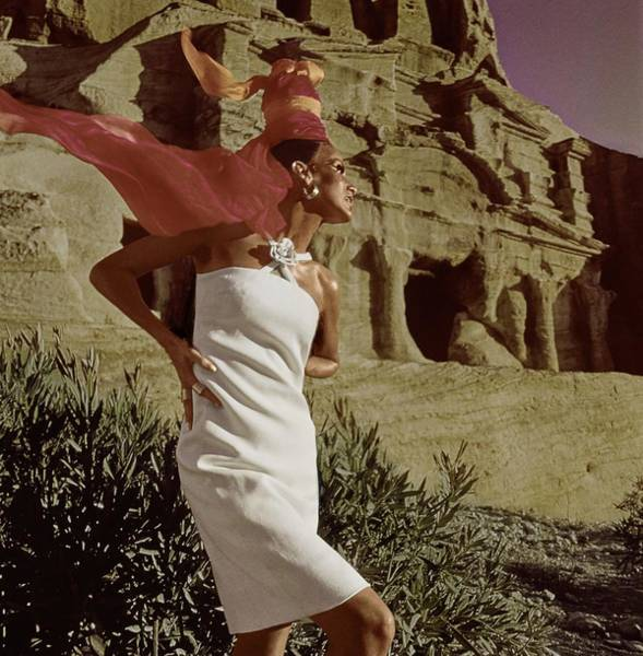 Crisscross Wall Art - Photograph - Model In White Linen Dress At Petra by Henry Clarke