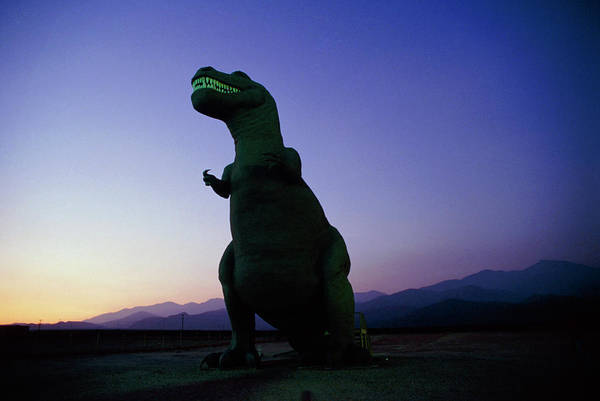 Rex Photograph - Model Of Tyrannosaurus Rex On Roadside by David Parker/science Photo Library
