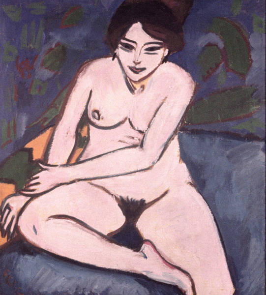 Naked Woman Painting - Model On Blue Ground by Ernst Ludwig Kirchner