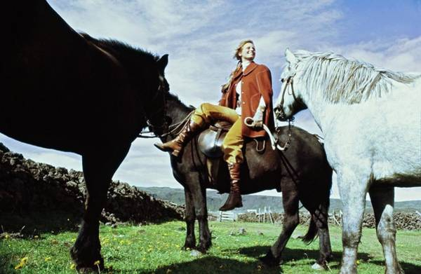 Wall Art - Photograph - Model On Horseback In Iceland by John Cowan