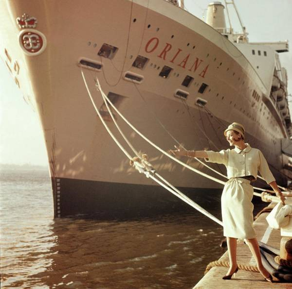 Wave Photograph - Model Posing Next To The Ship Oriana by Henry Clarke