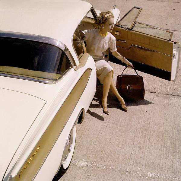 Headband Photograph - Model Sitting In A 1958 Packard Hawk by Karen Radkai
