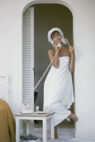 Towel Photograph - Model Standing In A Bath Towel While Preparing by Karen Radkai