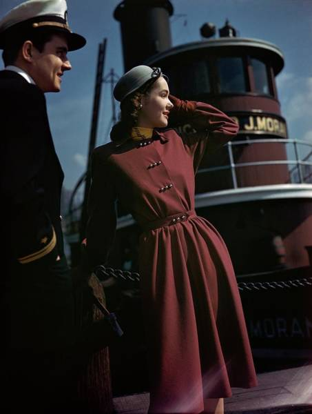 Boat Photograph - Model Standing In Front Of A Riverboat by Frances McLaughlin-Gill
