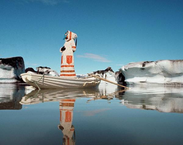 Boat Photograph - Model Standing On A Boat On The Vatnajokull by John Cowan
