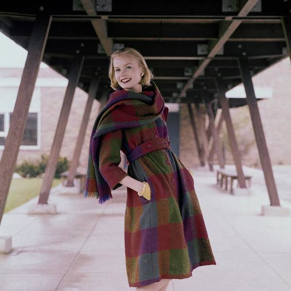 Red Coat Photograph - Model Standing Underneath A Breezeway In A Plaid by Frances McLaughlin-Gill