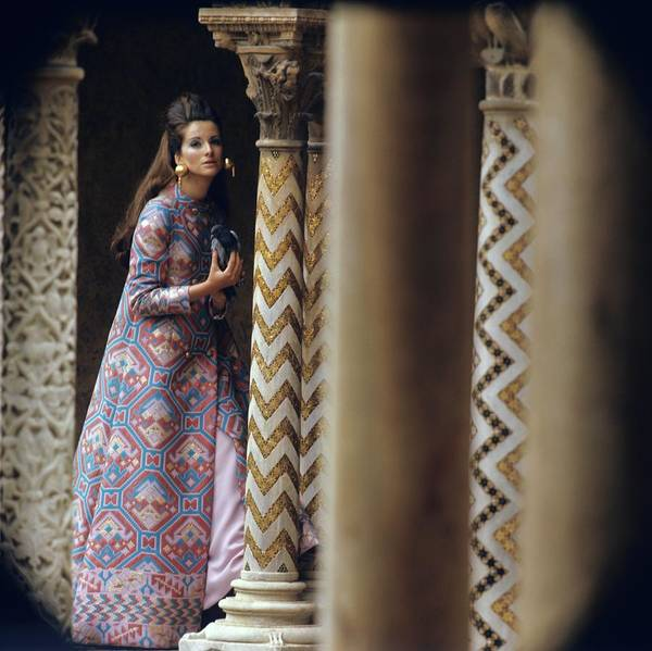 Cloister Photograph - Model Stands Beside A Mosaic Column Wearing by Henry Clarke