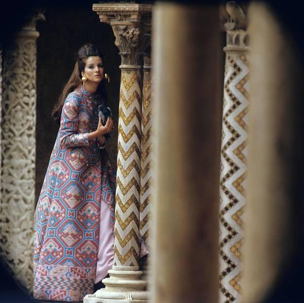 Alexandre Photograph - Model Stands Beside A Mosaic Column Wearing by Henry Clarke