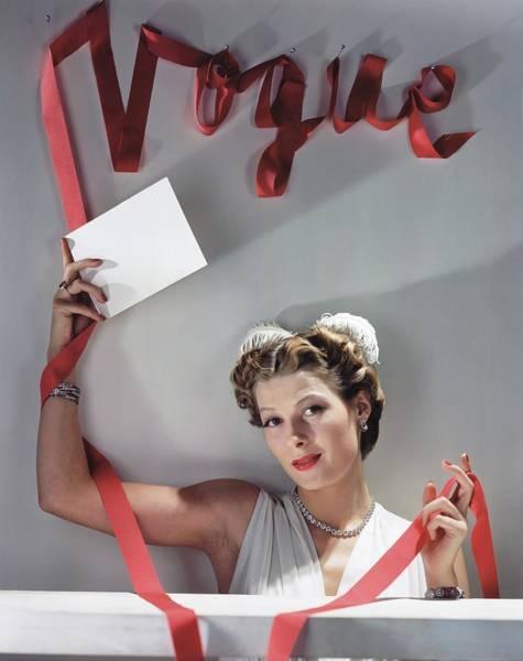 Sign Photograph - Model Under Vogue Sign by Horst P. Horst