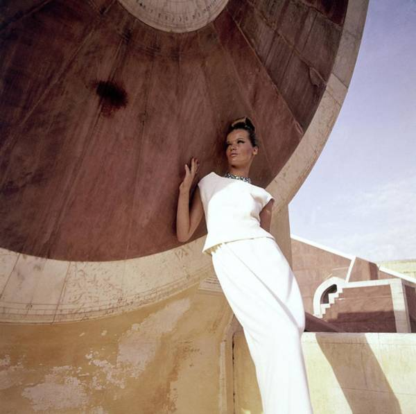 Facade Photograph - Model Veruschka Wearing A Two-piece Dress by Henry Clarke