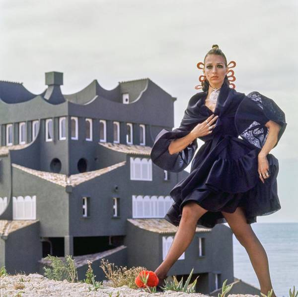 Iberian Peninsula Photograph - Model Wearing A Bill Blass Dress At The Xanadu by Henry Clarke