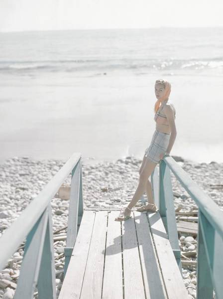 Selective Focus Photograph - Model Wearing A Bra And Skirt On A Beach by Cecil Beaton