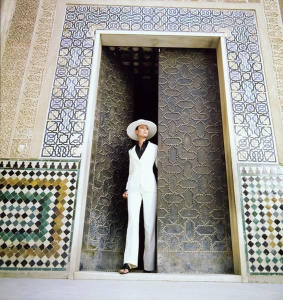 Wall Art - Photograph - Model Wearing A Calvin Klein Pantsuit by Raymundo de Larrain