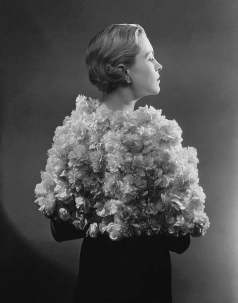 Copy Photograph - Model Wearing A Carnation Cape by Lusha Nelson