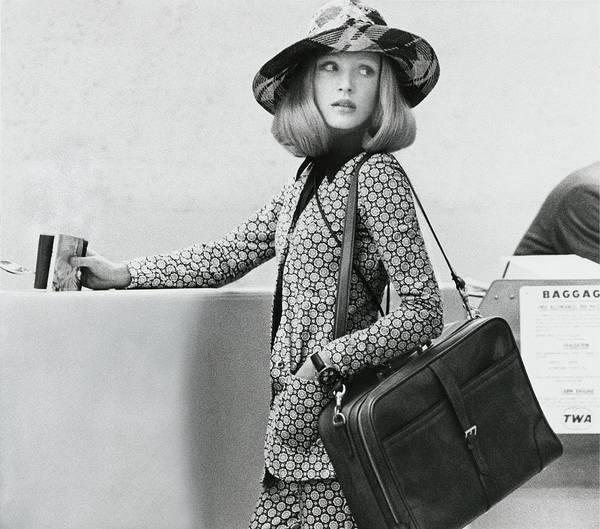 Desk Photograph - Model Wearing A Diane Von Furstenberg Cardigan by Kourken Pakchanian