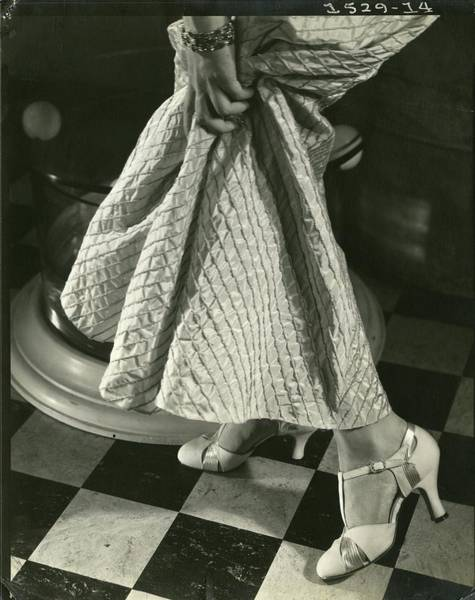 Tile Floor Photograph - Model Wearing A Dress By Rose Clark by Edward Steichen