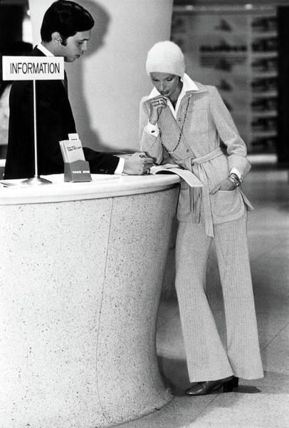 Desk Photograph - Model Wearing A Eleanor Brenner Pantsuit by Kourken Pakchanian