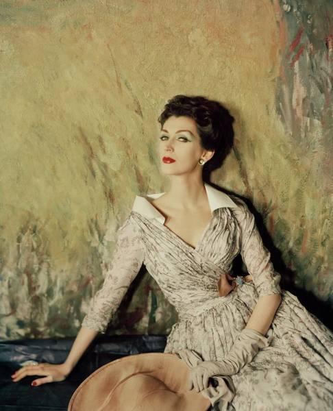Photograph - Model Wearing A Fath Dress by Henry Clarke