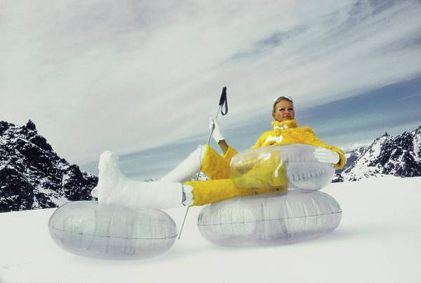 Central Europe Photograph - Model Wearing A Fur Ski Suit by Arnaud de Rosnay