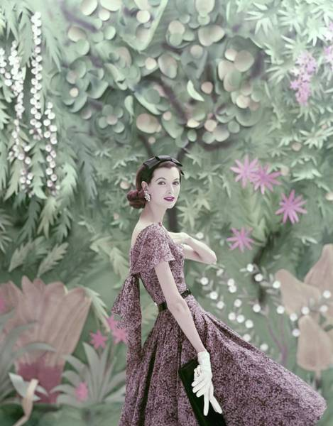 Tropical Plant Photograph - Model Wearing A Galanos Dress by Richard Rutledge