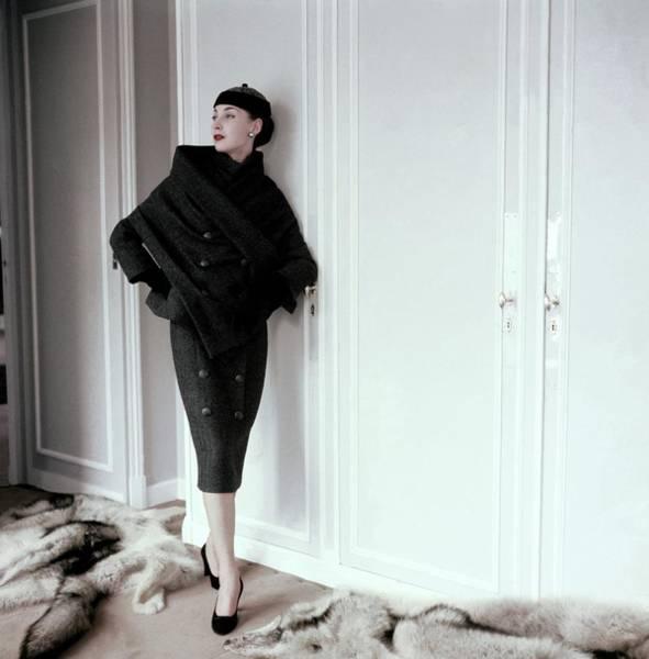Model Wearing A Gray Tweed Sheath Dress By Dior Art Print