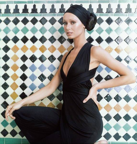 Iberian Peninsula Photograph - Model Wearing A Halston Jump Suit by Raymundo de Larrain