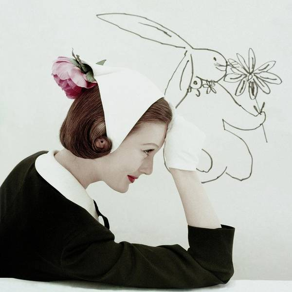 Flower Head Photograph - Model Wearing A Hat By William J by Frances McLaughlin-Gill