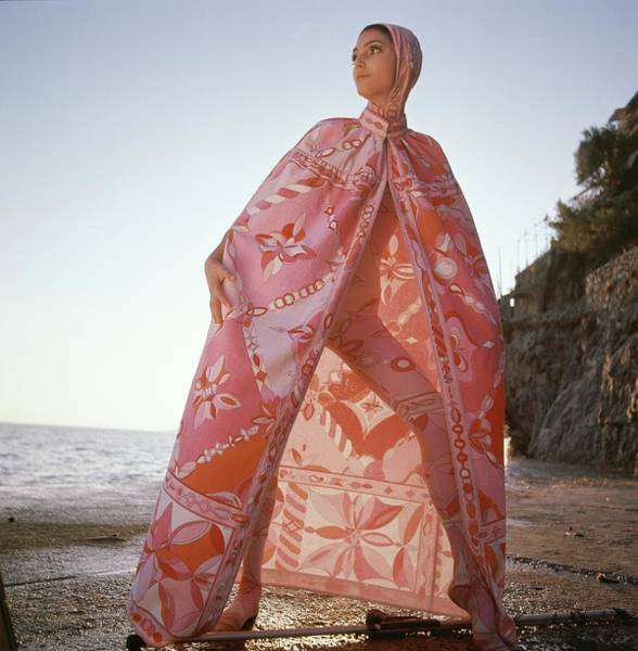 1968 Photograph - Model Wearing A Head-to-toe Leotard In Pink Silk by Henry Clarke