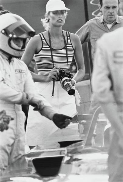 Auto Photograph - Model Wearing A Jaeger Ensemble At Sebring Race by Kourken Pakchanian