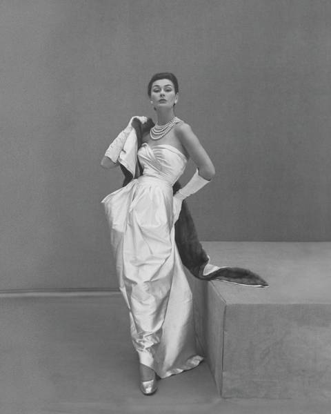 1951 Photograph - Model Wearing A Manguin Dress by Henry Clarke