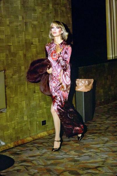 Radio City Music Hall Photograph - Model Wearing A Paisley Gown by Arthur Elgort