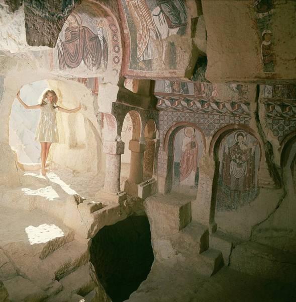 Silver Photograph - Model Wearing A Pat Sandler Dress In A Byzantine by Henry Clarke