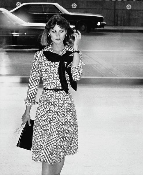 Motor Sports Photograph - Model Wearing A Patterned Dress by Kourken Pakchanian