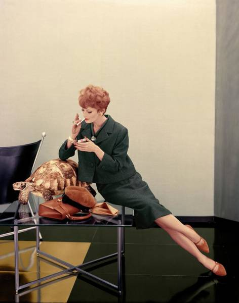 Coffee Table Photograph - Model Wearing A Paul Parnes Suit by Henry Clarke