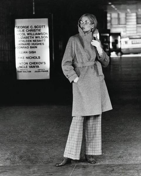 Photograph - Model Wearing A Pendleton Wrap Coat by Kourken Pakchanian