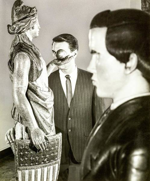 Photograph - Model Wearing A Petrocelli Blazer Behind Statues by Chadwick Hall