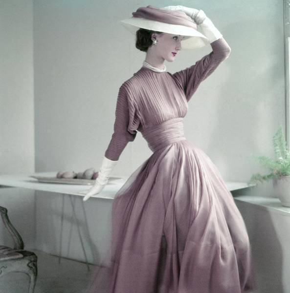 Dining Table Photograph - Model Wearing A Pink Dress And Matching Hat by Frances McLaughlin-Gill