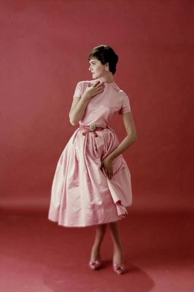 Photograph - Model Wearing A Pink Satin Dress by Frances McLaughlin-Gill