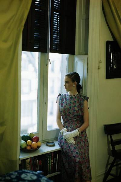 Shutters Photograph - Model Wearing A Printed Silk Dress by Frances McLaughlin-Gill