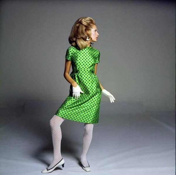Wall Art - Photograph - Model Wearing A Shannon Rodgers Dress by Bert Stern