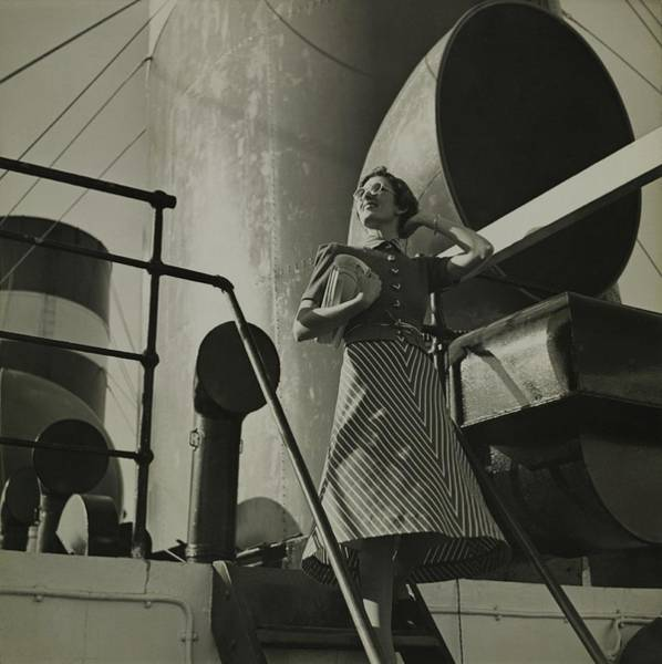 Wall Art - Photograph - Model Wearing A Striped Dress On A Boat by Toni Frissell