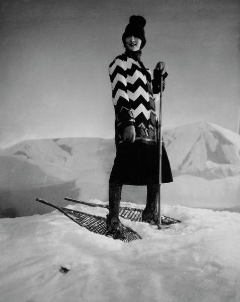 Season Photograph - Model Wearing A Striped Sweater On Snow by Edward Steichen