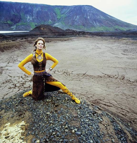 Photograph - Model Wearing A Suede Ensemble by John Cowan