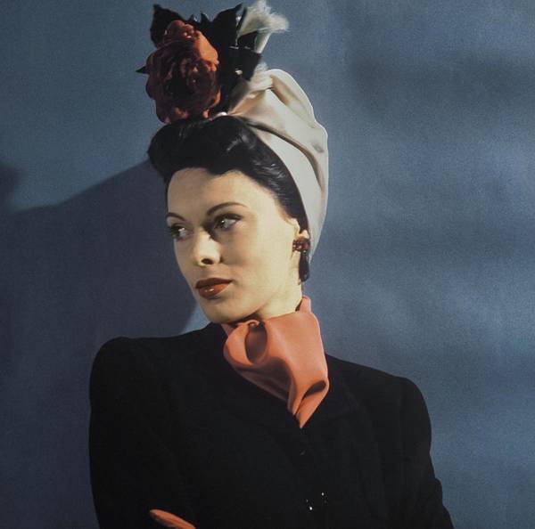 Flower Head Photograph - Model Wearing A Turban by John Rawlings