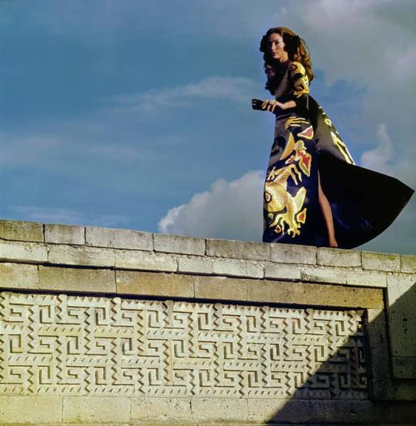 Sculpture Photograph - Model Wearing A Valentino Dress by Henry Clarke