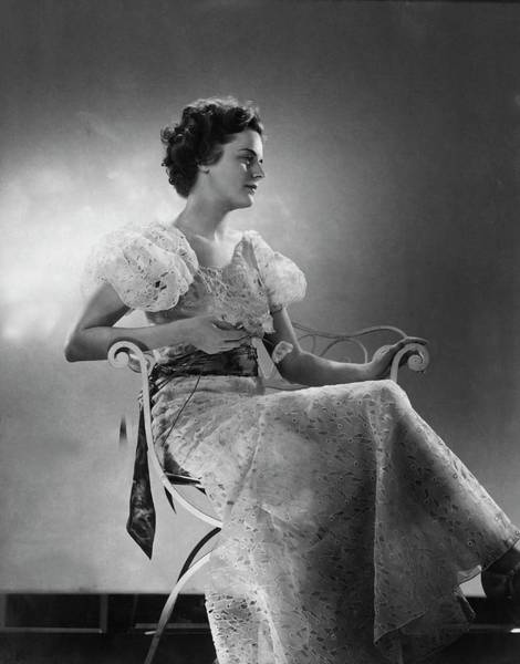 Metal Furniture Photograph - Model Wearing A White Eyelet Dress by Edward Steichen