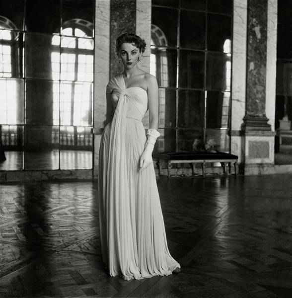 Official Residence Photograph - Model Wearing A White Gown At Fontainebleau by Frances McLaughlin-Gill