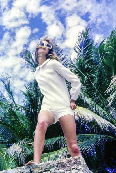 Wall Art - Photograph - Model Wearing A White Shirt And Shorts by Sante Forlano