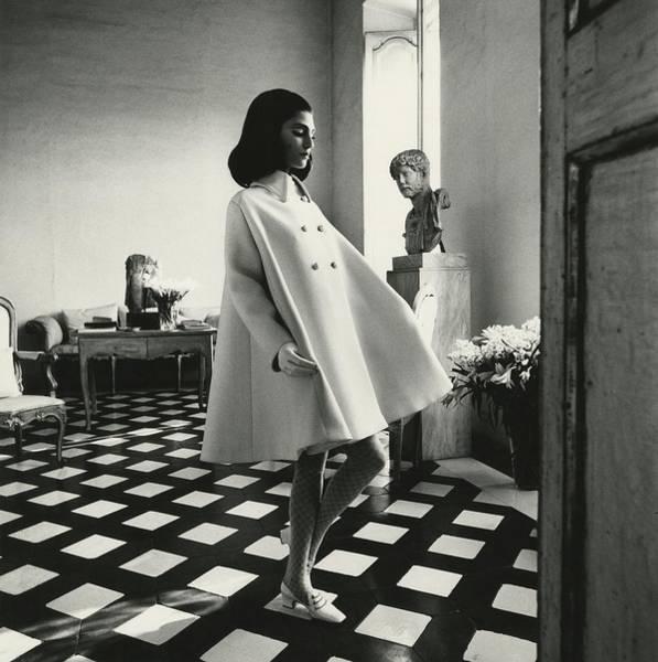 Antique Furniture Photograph - Model Wearing A Wool Gabardine Fabiani Tent-coat by Henry Clarke